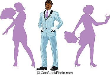 balletto, de, corpo, ballerini, afroamerican, silhouette, attraente, uomo