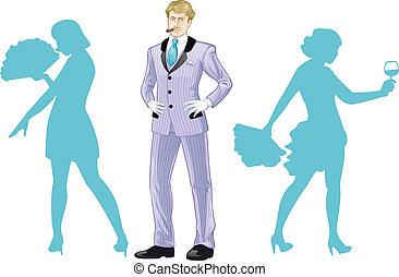balletto, de, corpo, ballerini, silhouette, attraente, caucasico, uomo