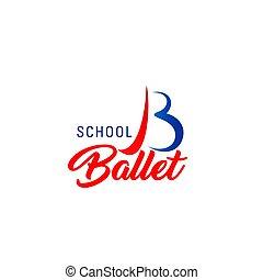 balletto, emblema, scuola ballo, club, sport, o, icona