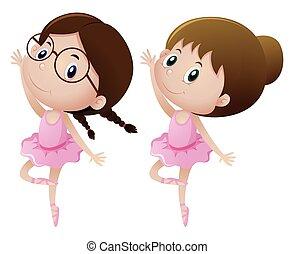 balletto, equipaggiamento, ragazze, due, ballo