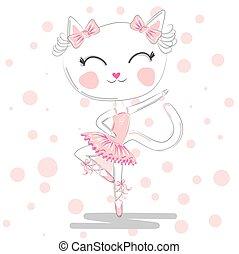 balletto, fondo, ballo, polka, illustrazione, gatto, costume, vector., ragazza, pianoforte, puntino, felice