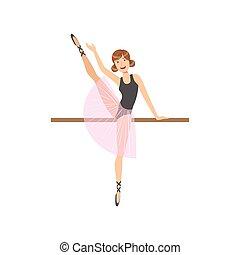 balletto, gamba, ballo, esercitarsi, polo, altalena, ragazza, classe