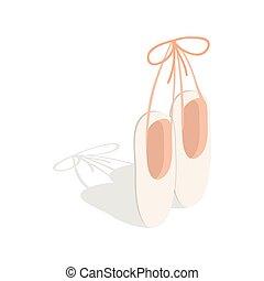 balletto, pointe, isometrico, stile, icona, 3d, scarpe
