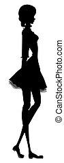balletto, ragazza, silhouette