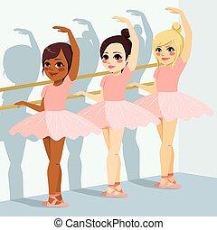 balletto, ragazze, classe