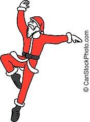 balletto, santa, ballo, claus, linee, isolato, illustrazione, mano, vettore, nero, magro, fondo, disegnato, bianco, schizzo