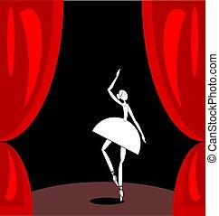balletto, scena astratta, scuro, ballerino, bianco rosso