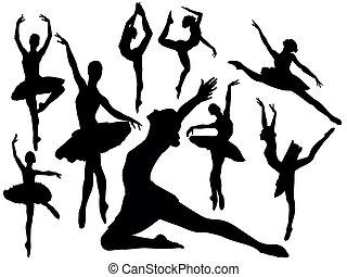 balletto, silhouette, -, vettore, ballerini