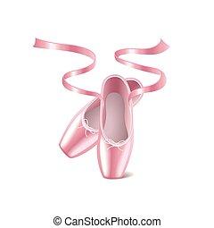 balletto, vettore, scarpe, bianco, isolato
