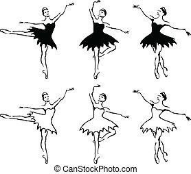 balletto, vettore, woman-dancers., illustration.