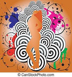 ballo, astratto, illustrazione, vettore, fondo, ragazza