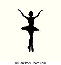 ballo, ballerina, ragazza, silhouette, balletto