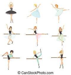 ballo, ballerine, addestramento, set, classe