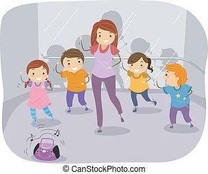 ballo, bambini, classe