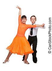 ballo, bambini, felice