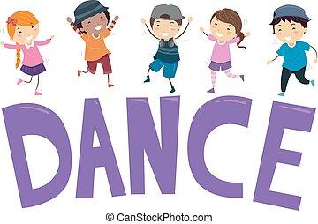 ballo, bambini, stickman, illustrazione