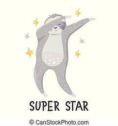 ballo, bradipo, cartone animato, limanda, ballo