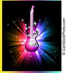 ballo, chitarra, elettrico, fondo, discoteca