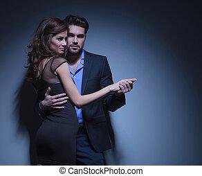 ballo, coppia, atteggiarsi, giovane