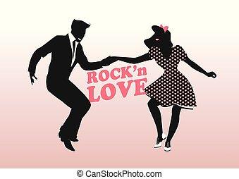 ballo, coppia, love., giovane, rock'n, roccia, silhouette