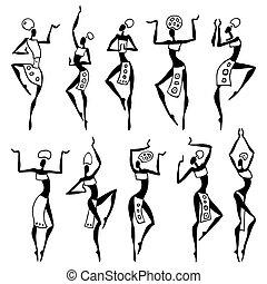 ballo, donna, in, etnico, style.