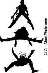 ballo, donna, silhouette, vettore