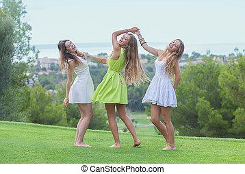 ballo, estate, ragazze, sano, fuori