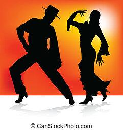 ballo, flamenco, due, spagnolo