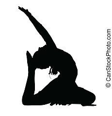ballo, ginnastica, acrobatico, silhouette, routine