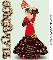 ballo, illustrazione, fan., vettore, spagnolo, ragazza, flamenco, flamenco.