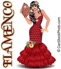 ballo, illustrazione, fan., vettore, spagnolo, ragazza, flamenco.