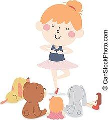 ballo, illustrazione, pubblico, giocattoli, ragazza,...