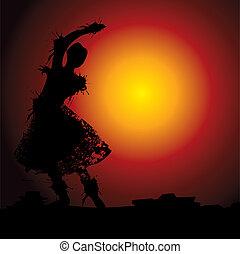 ballo, indiano, illustrazione
