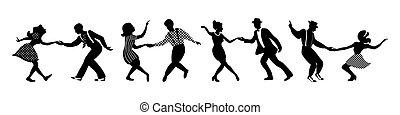 ballo, nero, persone, bandiera, silhouette