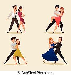 ballo, paia, set, retro, cartone animato