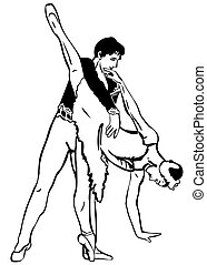ballo, paio, schizzo, atteggiarsi, ballerini
