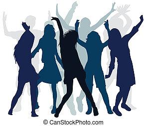 ballo, persone, silhouette