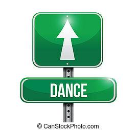 ballo, segno strada, illustrazione, disegno