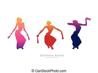 ballo, silhouette, ragazze ballo, balinese