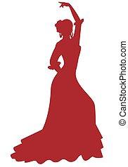 ballo, spagnolo, fondo, donna, silhouette, flamenco, bianco, ballerino, isolato