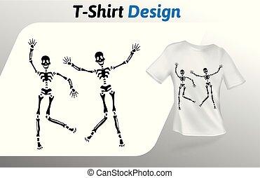 ballo, su, isolato, t-shirt, fondo., print., vettore, nero, due, disegno, bianco, sagoma, template., beffare, sceletons