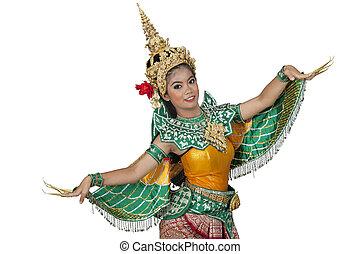 ballo, tailandia, antico, signora, ritratto, tailandese, giovane