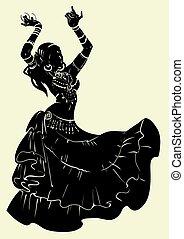 ballo, tribale, silhouette, fusione, bellydancer