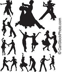 ballo, vettore, silhouette, persone