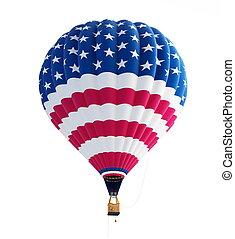 ballon air chaud, drapeau etats-unis