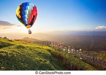 ballon air chaud, sur, les, montagne