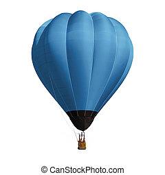 ballon bleu, blanc, isolé, fond