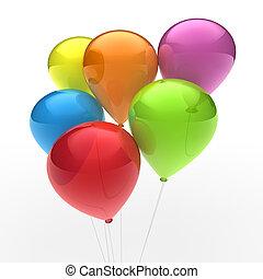 ballon, colorito, 3d