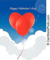 Ballon heart in sky