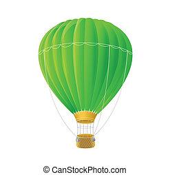 ballon, isolato, aria, vettore, verde bianco